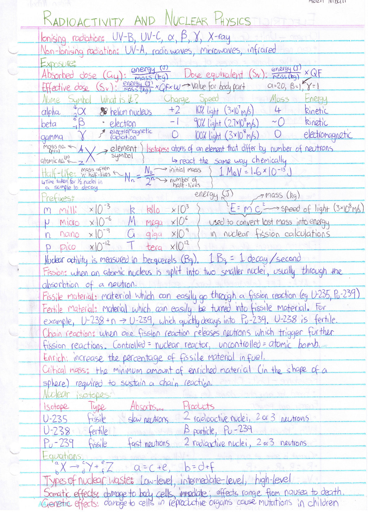 VCE School Notes / Physics (Year 11)